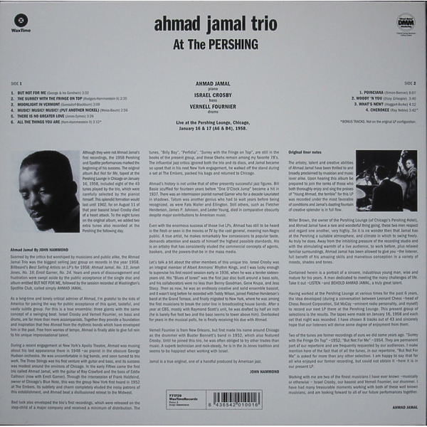 Ahmad Jamal Trio - But Not for Me: Live At The Pershing (Reissue) (Back)