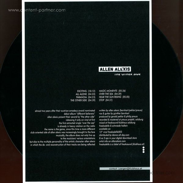 Allen Alexis - The Other Side LP (180g limited edition) (Back)