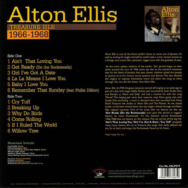 Alton Ellis - Treasure Isle 1966-1968 (LP) (Back)