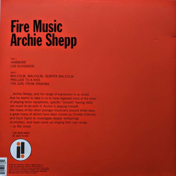 Archie Shepp - Fire Music (LP Reissue) (Back)