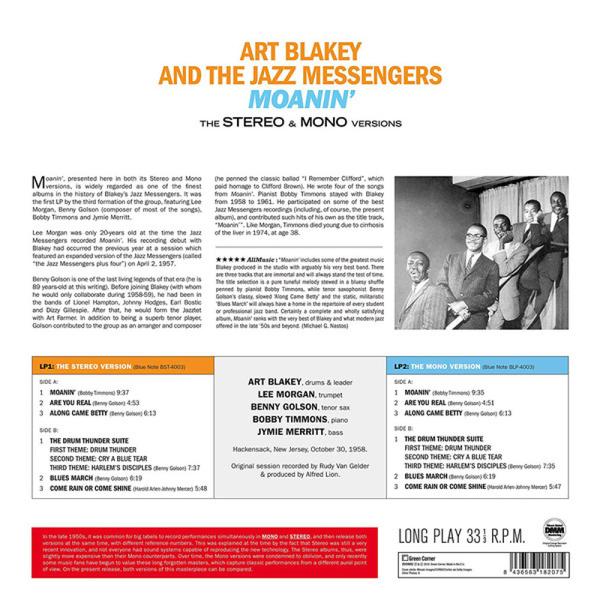 Art Blakey & The Jazz Messengers - Moanin' (The Stereo & Mono Versions) (2LP) (Back)