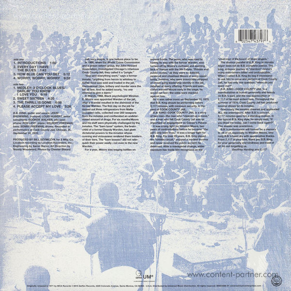B.B. King - Live In Cook County Jail (Back)