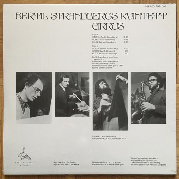BERTIL STRANDBERGS KVINTETT - CIRRUS (Remastered Reissue 2019) (Back)