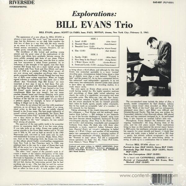 Bill Evans Trio - Explorations (Back to Black Ltd. Ed.) (Back)
