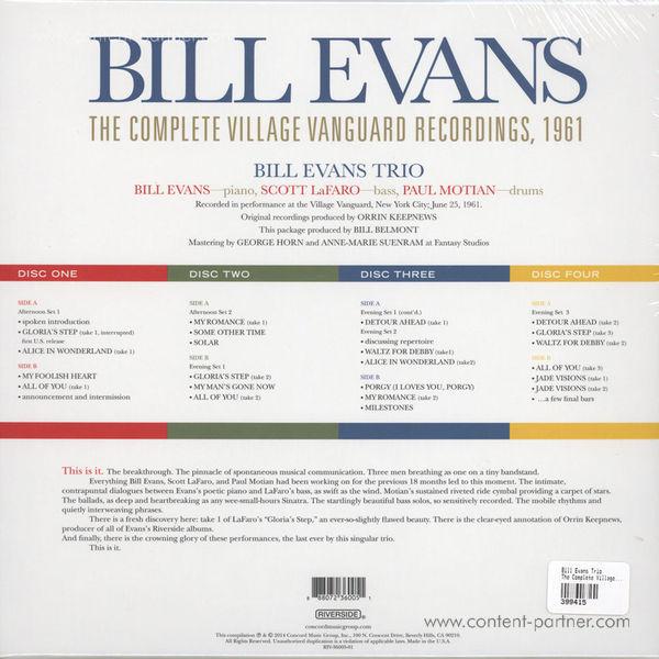 Bill Evans Trio - The Complete Village Vanguard Recordings (4LP Box) (Back)