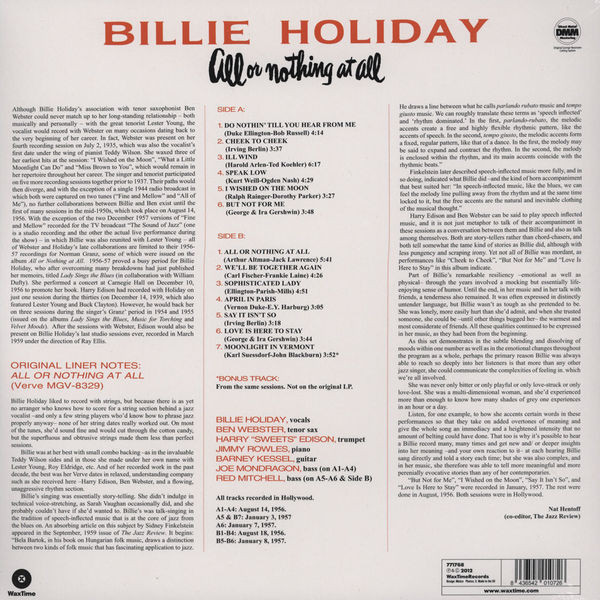 Billie Holiday - All Or Nothing At All (45RPM, 200g 2LP) (Back)