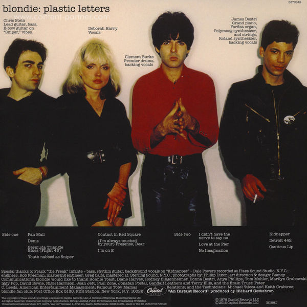 Blondie - Platic Letters (Ltd. Edit. Picture Disc) (Back)