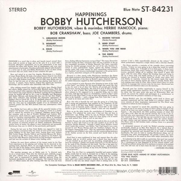Bobby Hutcherson - Happenings (Rem. + DL Code) (Back)