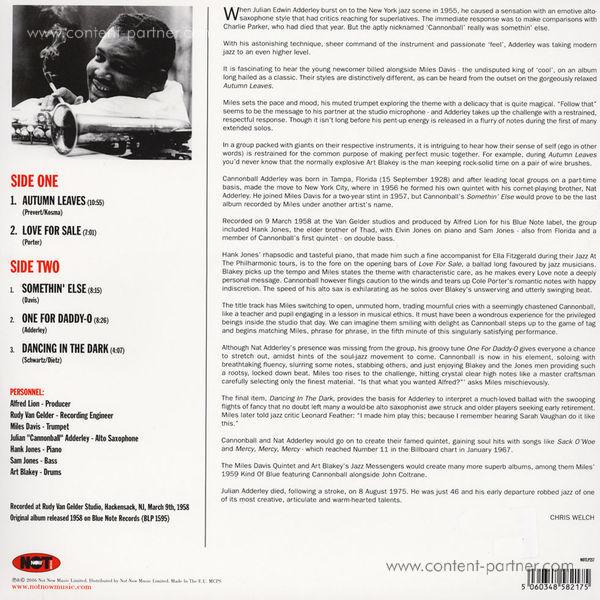 Cannonball Adderley - Somethin' Else (LP) (Back)