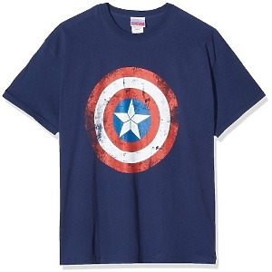 Captain America - Shield Distressed (dunkelblau, Size M)