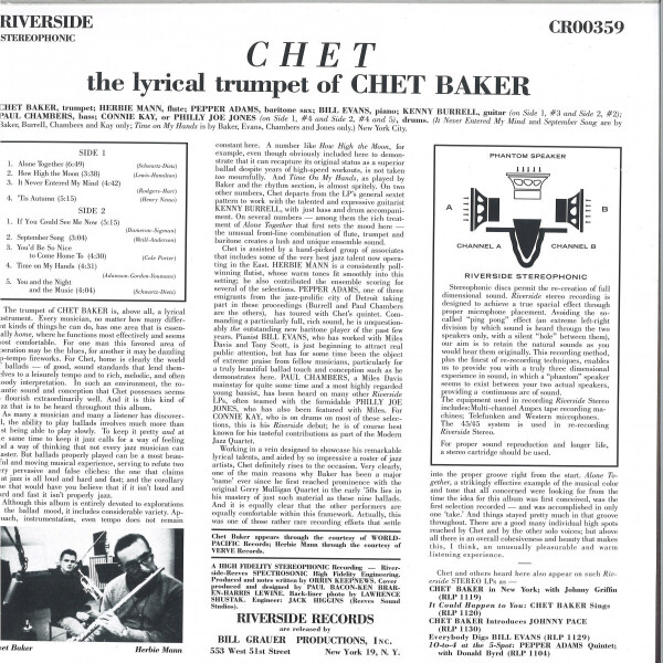 Chet Baker - Chet (180g Reissue) (Back)