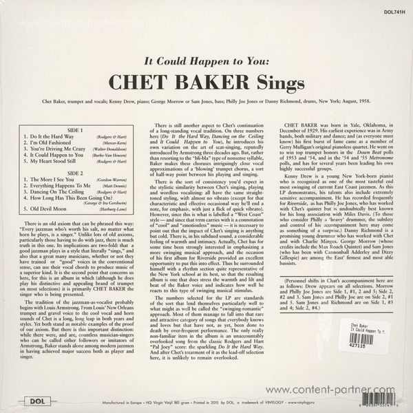 Chet Baker - It Could Happen To You (180g Reissue) (Back)