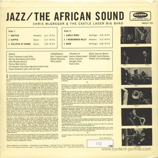 Chris McGregor - Jazz - The African Sound (LP) (Back)