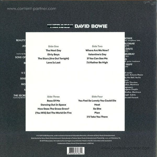 DAVID BOWIE - THE NEXT DAY (Back)