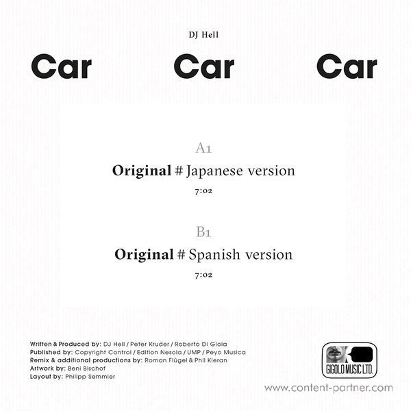 DJ Hell - Car Car Car (Limited 7inch Version) (Back)