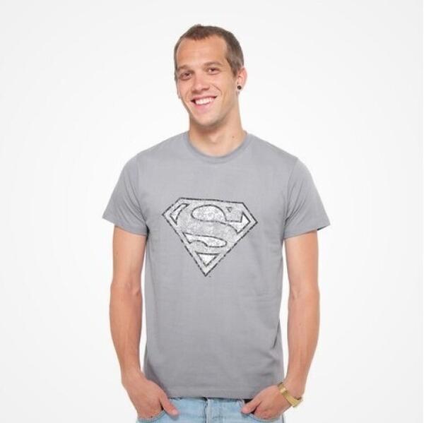 DMC T-SHIRT - DC Comics - Superman Logo (grey) L