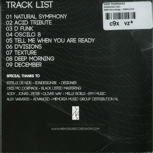 Dany Rodriguez - D'visions (CD) (Back)