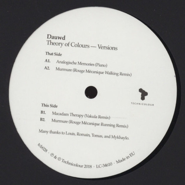 Dauwd - Theory of Colours - Versions (Back)