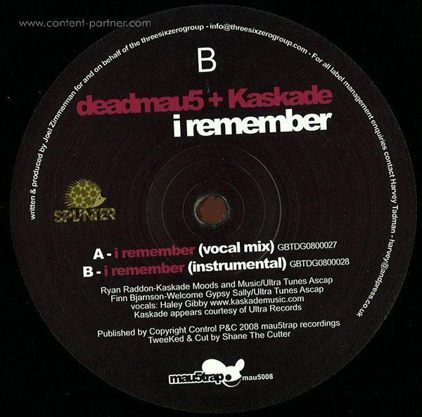 Deadmau5 & Kaskade - I Remember (Back)