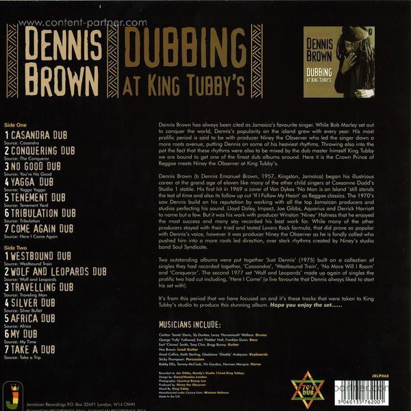 Dennis Brown - Dubbing At King Tubby's (Back)