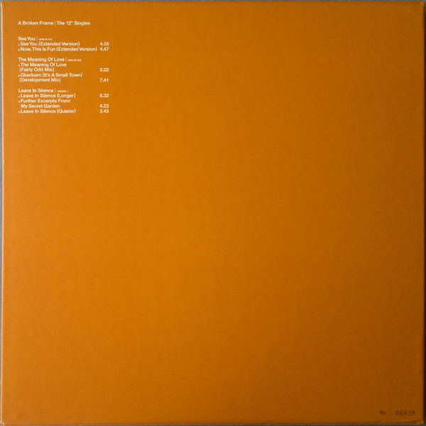 "Depeche Mode - A Broken Frame-12"" Singles (Ltd. numbered Edition) (Back)"