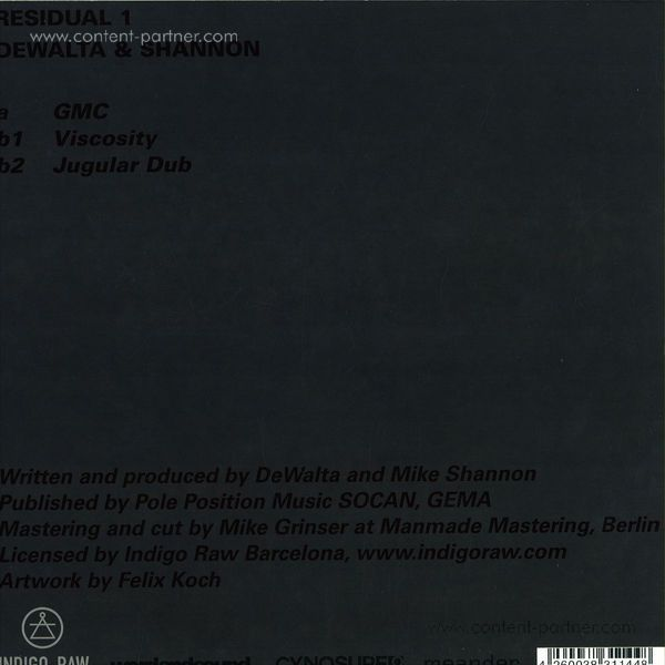 Dewalta & Shannon - Residual Pt1 / Printed Deluxe Colour Sleeves, 180g (Back)