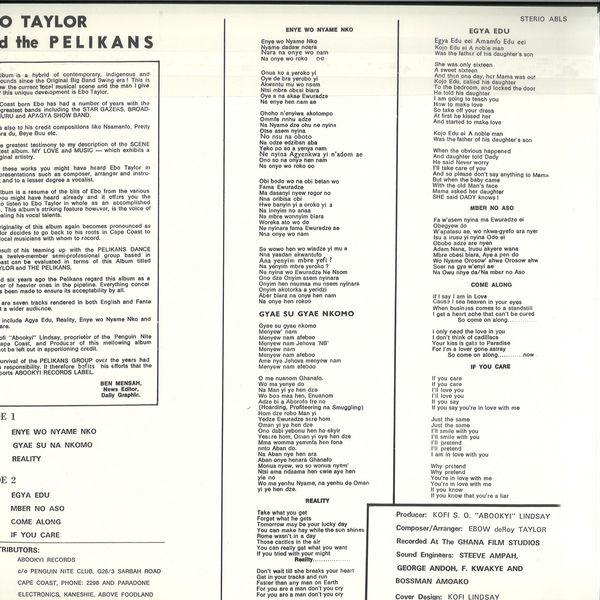 Ebo Taylor And The Pelikans - Ebo Taylor And The Pelikans (Reissue) (Back)