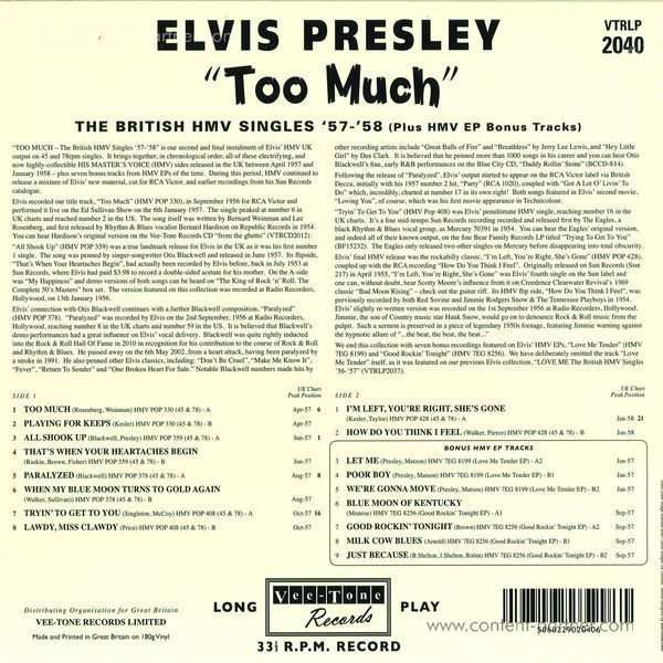 Elvis Presley - Too Much - The British Hmv Singles '57-'58 (Blue) (Back)