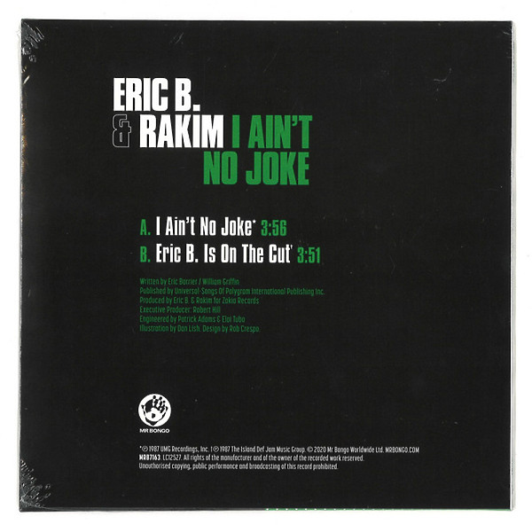 "Eric B. & Rakim - I Ain't No Joke / Is On The Cut (7"") (Back)"
