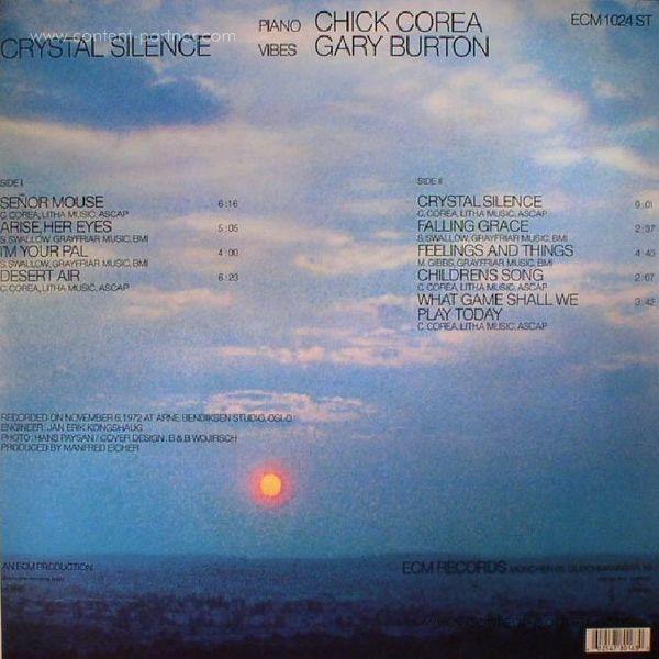 Gary Burton / Chick Corea - Crystal Silence (LP) (Back)