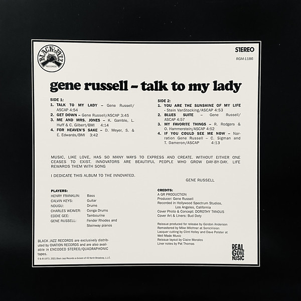 Gene Russell - Talk to My Lady (Remastered Reissue Vinyl LP) (Back)