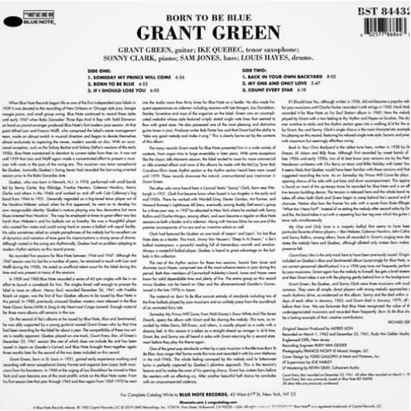 Grant Green - Born To Be Blue (Tone Poet Vinyl) (Back)
