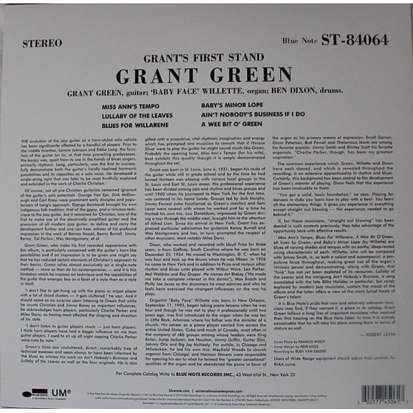 Grant Green - Grant's First Stand (Reissue 2019) (Back)