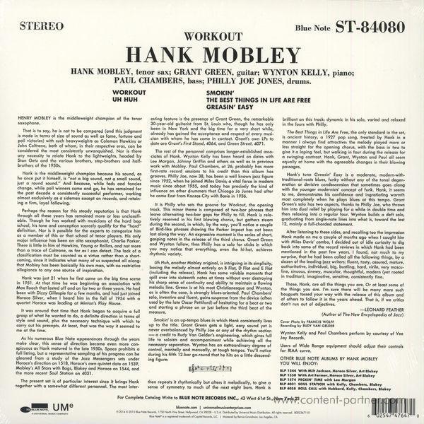 Hank Mobley - Workout (Rem. + DL-Code) (Back)