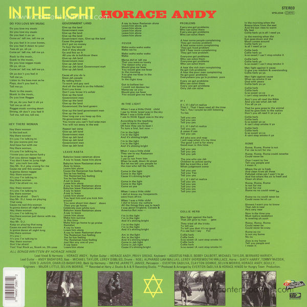 Horace Andy - In The Light (Original Artwork Edition) (Back)