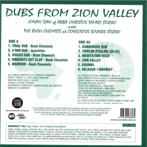JONAH DAN MEETS THE BUSH CHEMISTS - DUBS FROM ZION VALLEY LP (Back)