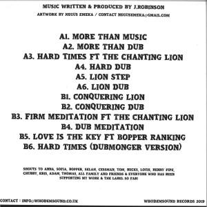 J.Robinson WhoDemSound - More Than Music (Back)