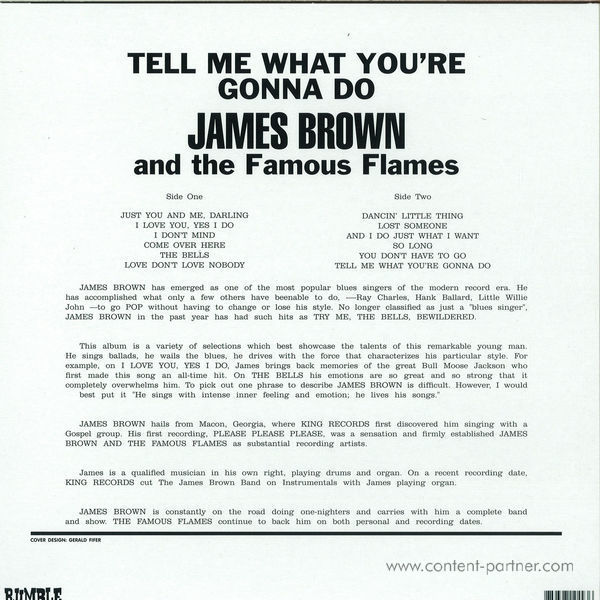 James Brown - Tell Me What You're Gonna Do (Reissue) (Back)