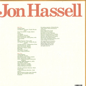 Jon Hassell - Vernal Equinox (Remstered LP+MP3) (Back)