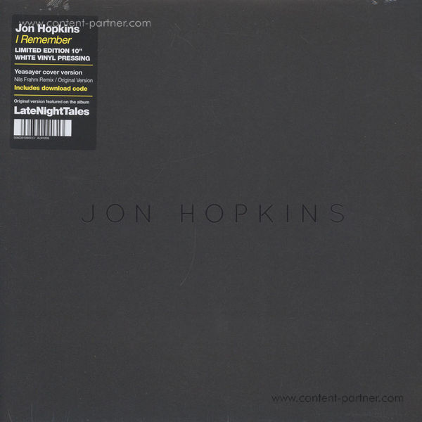 """Jon Hopkins - I Remember (10""""+MP3/Wh. Vinyl) RSD 2015"""