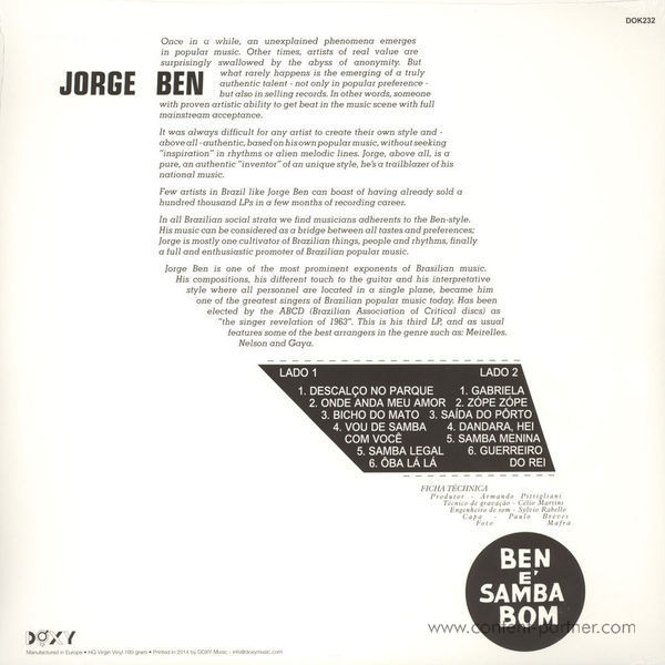 Jorge Ben - Ben É Samba Bom (180g LP+CD) (Back)