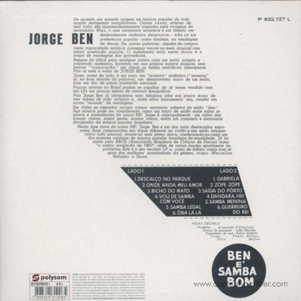 Jorge Ben - Ben É Samba Bom (180gr Repress!) (Back)