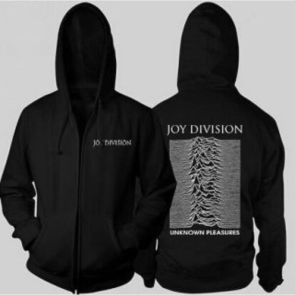Joy Division - Unknown Pleasures BLACK - UNISEX ZIPPED HOODIE L