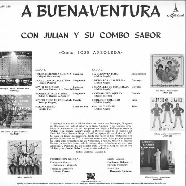 Julian Y Su Combo Sabor - A Buenaventura (Reissue LP) (Back)