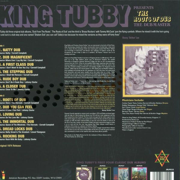KING TUBBY - THE ROOTS OF DUB LP (Back)