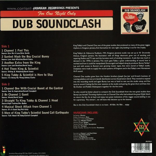 King Tubby Vs Channel One - Dub Soundclash (Back)