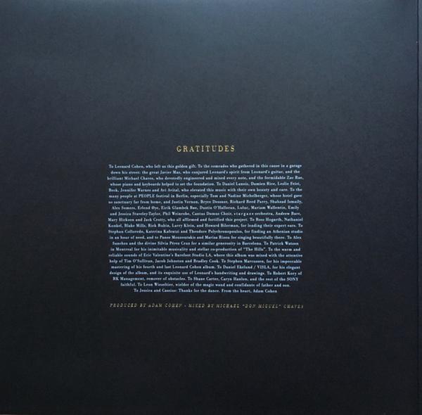 Leonard Cohen - Thanks for the Dance (LP) (Back)