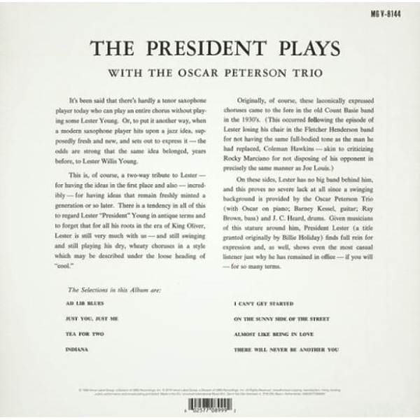Lester Young/Oscar Peterson - The President Plays With The Oscar P. Trio (Reissu (Back)