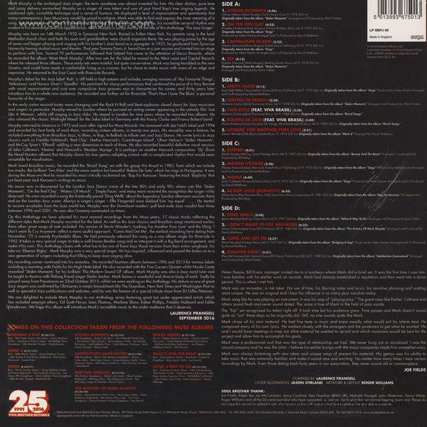 Mark Murphy - The Jazz Singer - Anthology: Muse Years 1972-1991 (Back)