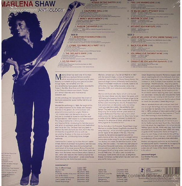 Marlena Shaw - Anthology (2LP/180g/Ltd.Ed.) (Back)